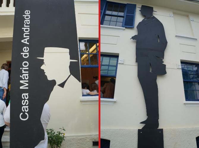 Silhuetas de Mario na lateral e na entrada da casa feitas em bronze Foto: Roteiros Literários
